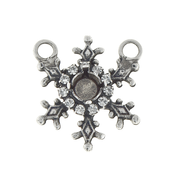 29ss Stellar snowflake pendant base with Rhinestones and two loops