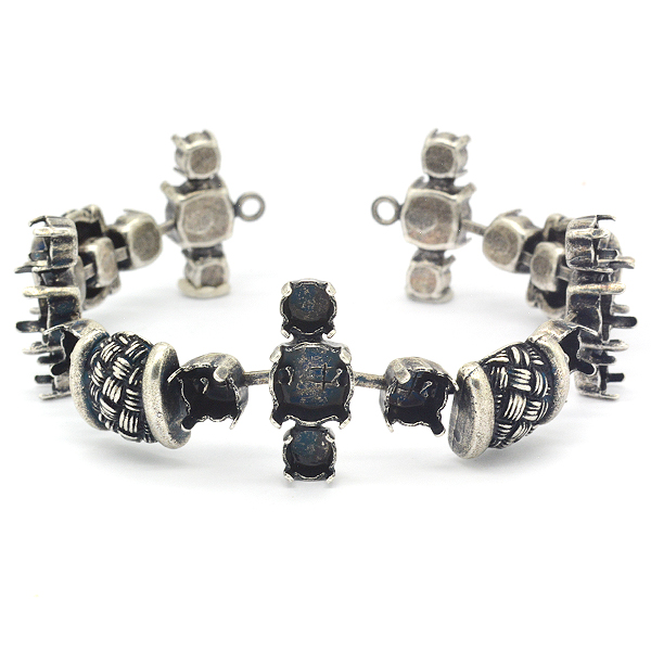 24ss,29ss,39ss Bracelet base with metal casting rope elements-17 settings