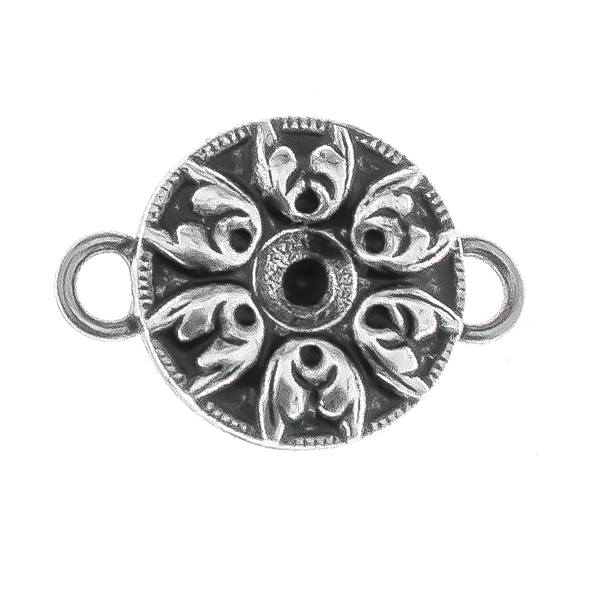 24ss metal Baroque pattern round Connector with two side loops