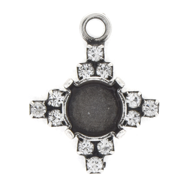 39ss with 14pp Rhinestones Cross Pendant base with top loop