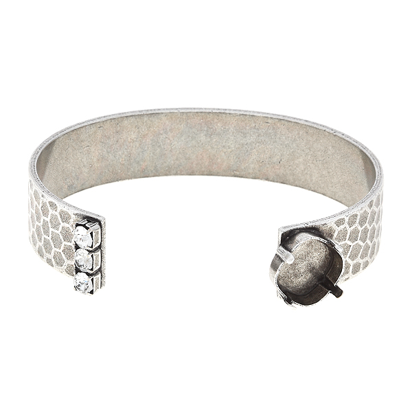 12x12mm Square adjustable bangle bracelet with honeycombs print and 32pp Rhinestones