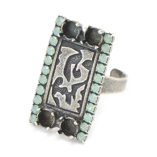 24ss with Metal Decorative rectangle and rhinestone Ring base