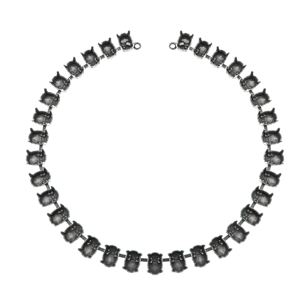 8x6mm Oval 4128 cup chain Necklace base (33 settings) with end loops