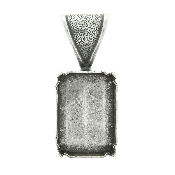 18x13mm Octagon Pendant base with soldered wide bail