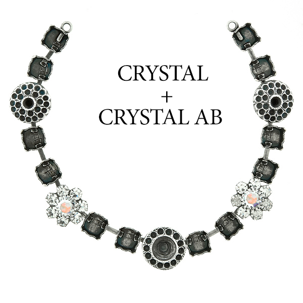 29ss cup chain and casting elements Necklace center piece with Swarovski flower elements Crystal AB color