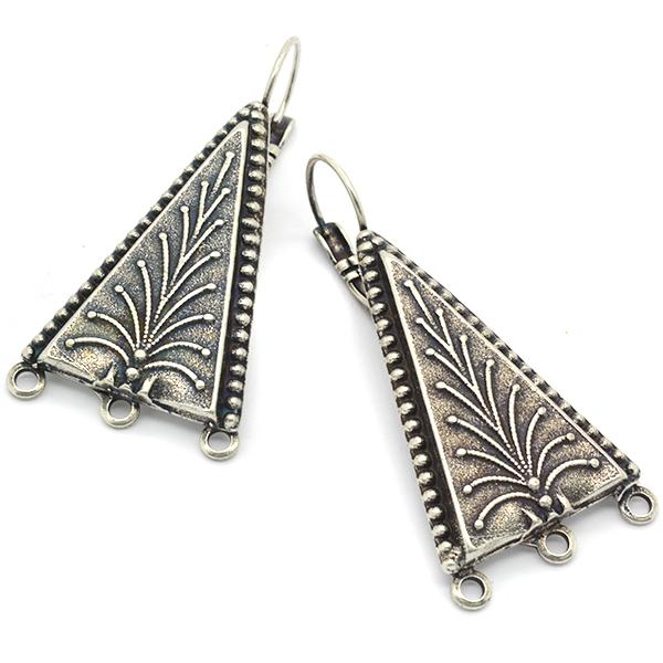 Ethnic triangle drop earring base with 3 loops