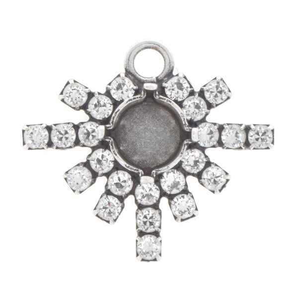 39ss Snowflake with Rhinestones Pendant base with top loop