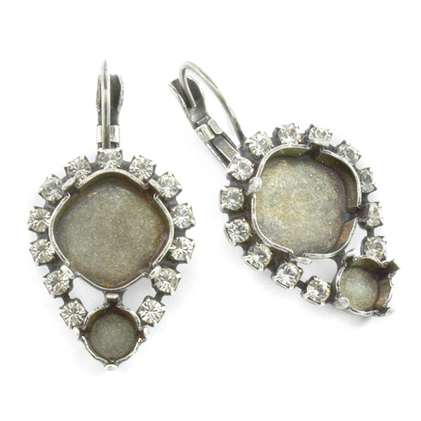 29ss and Square 12X12mm Drop earring bases with crystals