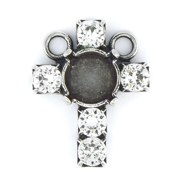 39ss and 32pp Rhinestones Cross Pendant base with 2 top loops
