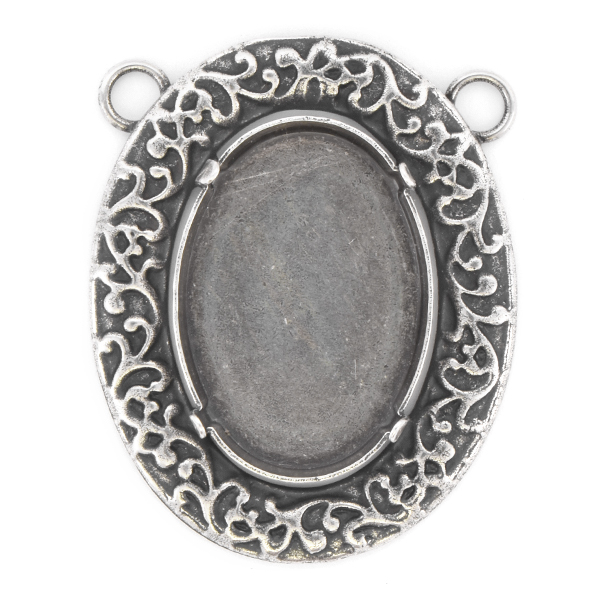 30x22mm Oval Decorated Pendant base with two top loops