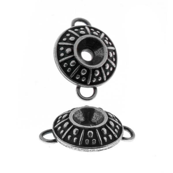 24ss Dotted metal casting Connector/Pendant base with two side loops
