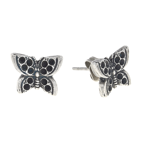 8pp Metal casting butterfly stud earring bases