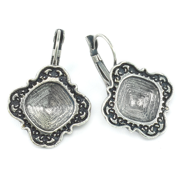 12x12mm Square Lever back Earring base with decorative frame