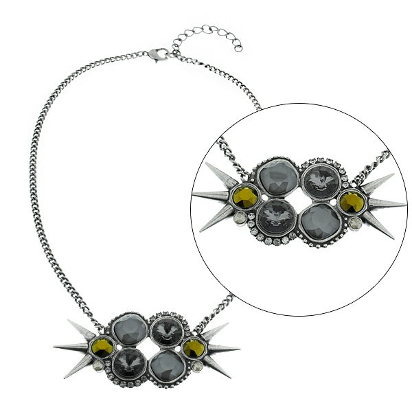Mix setting with spikes and Rhinestones Almost finished Necklace base