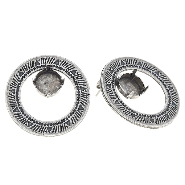 12mm Rivoli in Hollow circle with aztec pattern stud earring base
