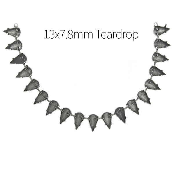 13x7.8mm Teardrop cup chain Necklace base