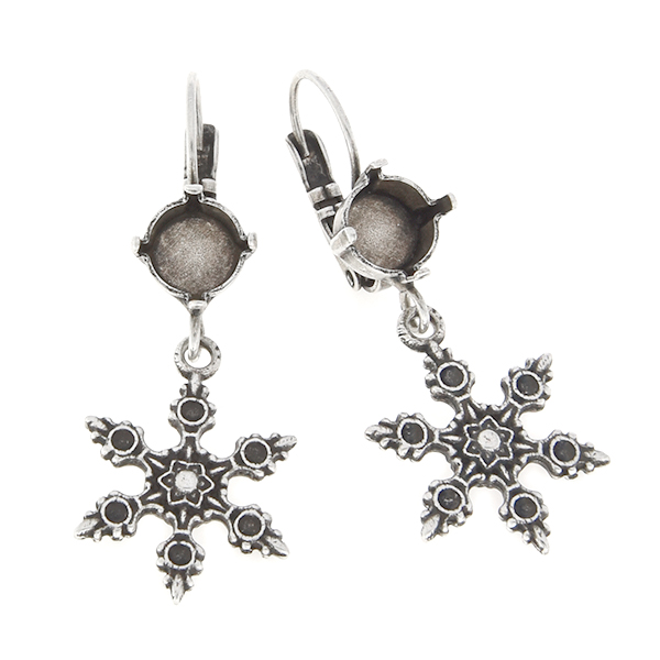 39ss with hanging metal snowflake Lever back earring base