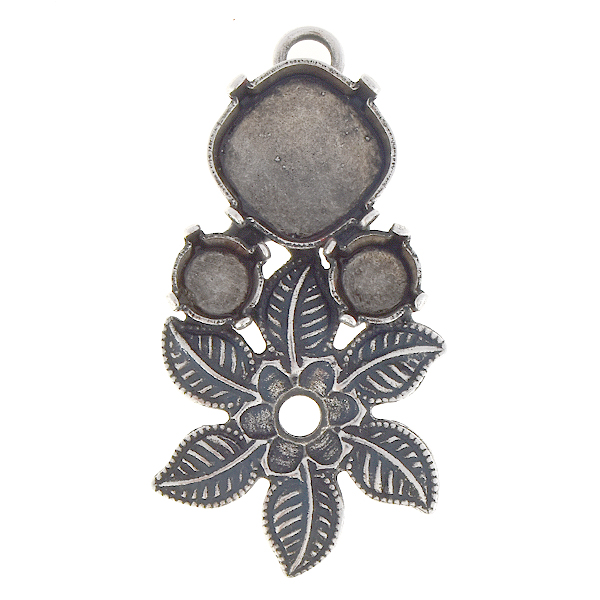 24ss, 29ss, 12x12mm Square Pendant base with flower and leaves