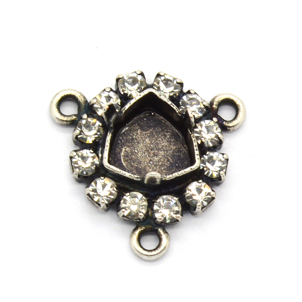 7mm Trilliant pendant base with 3 side loops and Rhinestoness