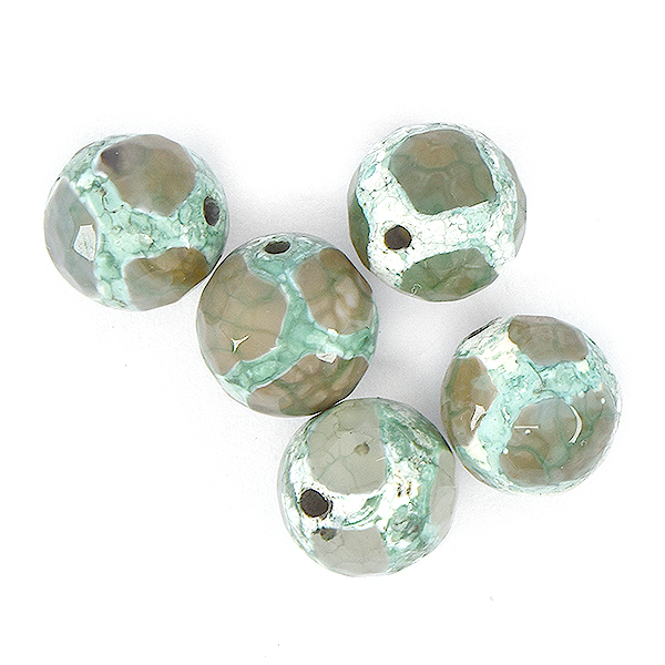 10mm Faceted Round natural Agate Beads Light Moss color - 5pcs pack