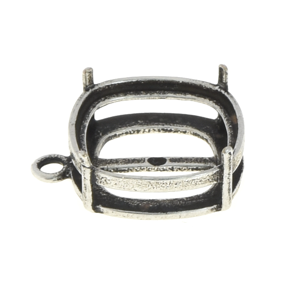 12x12mm Square Basket stone setting with one top loop