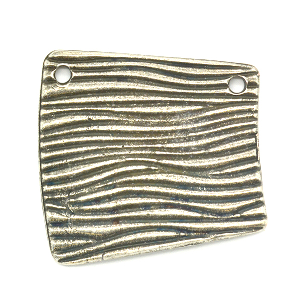 Asymmetric Striped pattern Pendant base 27.5x28.7mm with two top side holes