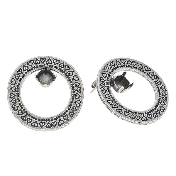 39ss in Hollow circle with hearts print stud earring base