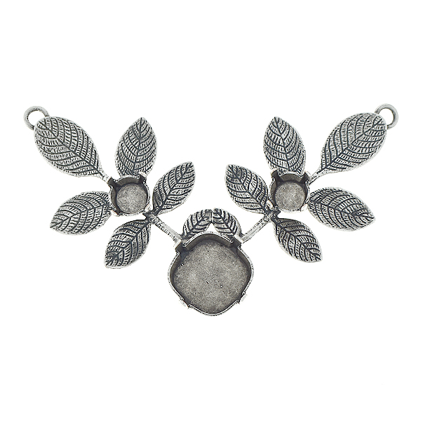 29ss, 12x12mm Square branch with leaves pendant base