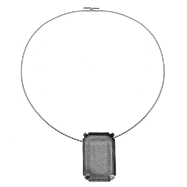 37x25.5mm Octagon 4627 setting  Wire Necklace/Choker base