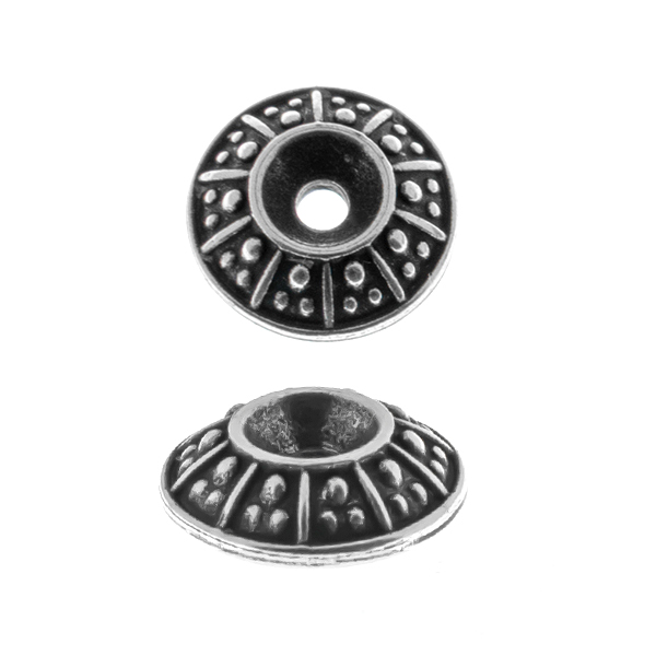 24ss decorative dotted metal casting element for embedding into 12mm Rivoli settings - 2pcs pack