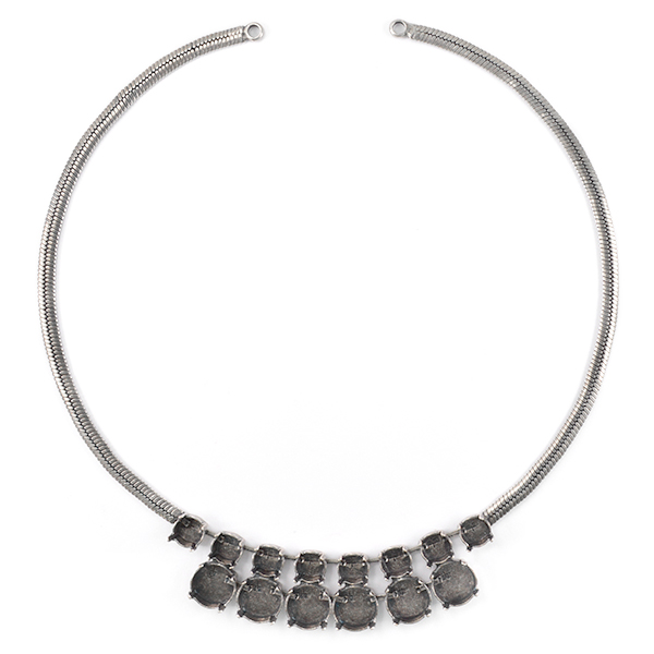 39ss and 12mm Rivoli with Flat Snake chain Necklace base