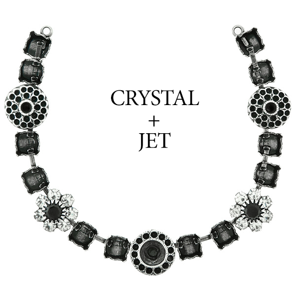 29ss cup chain and casting elements Necklace center piece with Swarovski flower elements Jet color