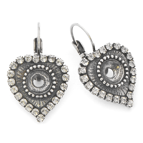 39ss Heart shaped Lever back Earring base with Rhinestones