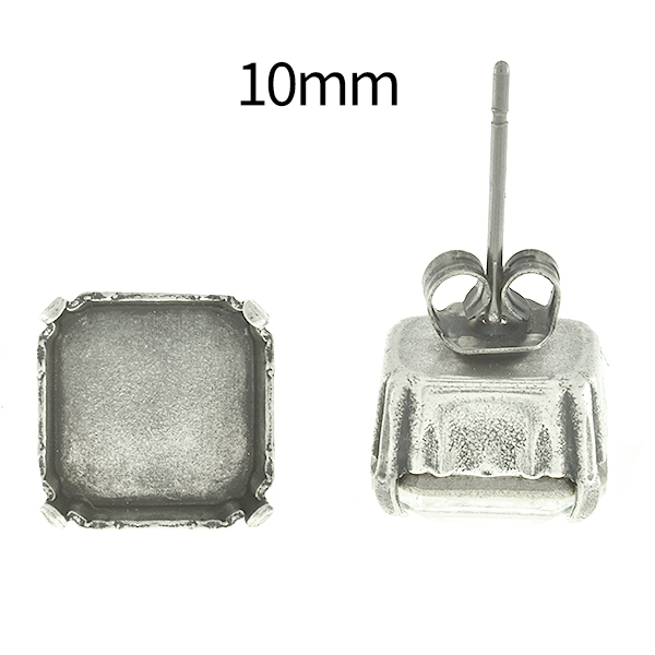 10mm Imperial 4480 Square Stone setting Stud Earring bases