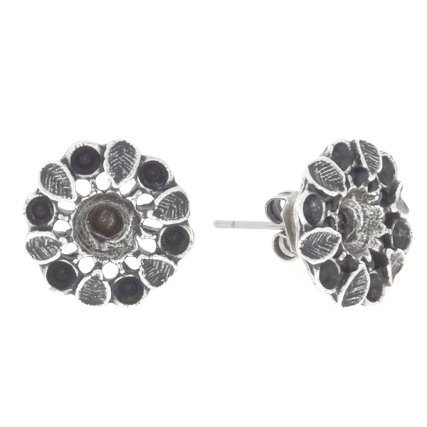 14pp, 24ss Flower with leaves stud earring base