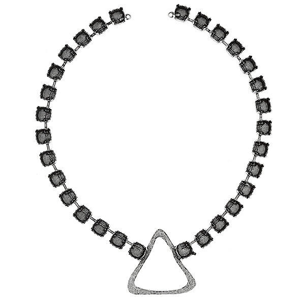 39ss Cup chain with Asymmetric Triangle shape casting element in the middle Necklace base - 30 settings