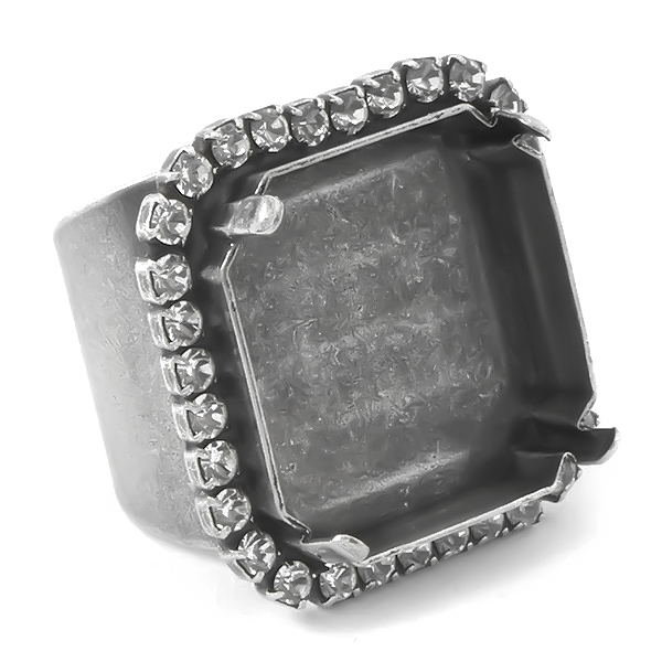23mm Fancy Square Adjustable Wide Ring base with Rhinestones