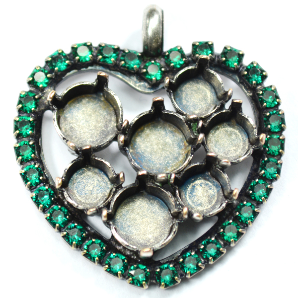 Heart pendant base with top loop 29ss and 39ss