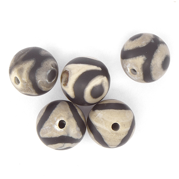 10mm Round natural Agate Beads Black Eye color - 5pcs pack