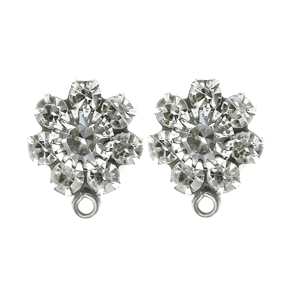 Crystal color crown setting Flower Stud Earring bases with bottom loops