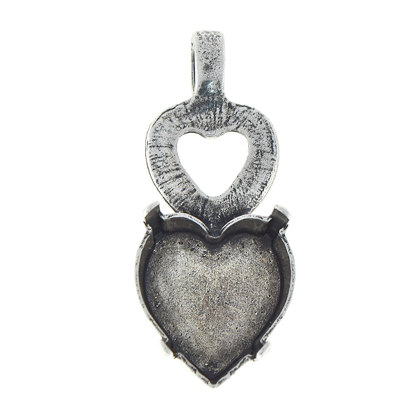 15.4x14mm Heart double pendant base with top loop