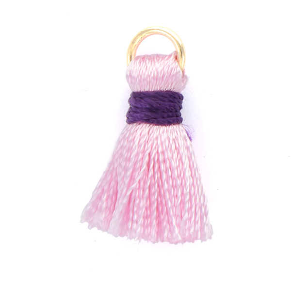 20mm Thread Tassels for jewelry making Pink with Purple color - 4pcs pack