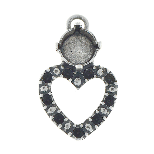 14pp, 39ss Double hearts pendant base with top loop