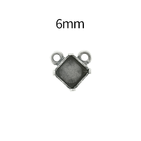 6mm Imperial 4480 Square Stone setting with two top loops