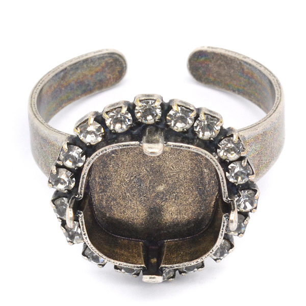 12x12mm Square Adjustable Ring base with Rhinestones