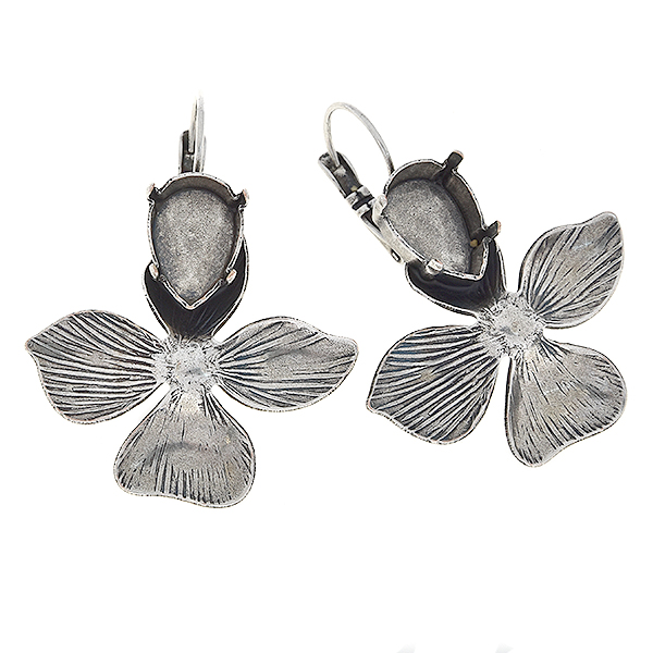 14x10mm Pear shape flower with four petals Lever back earrings bases