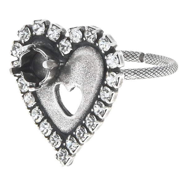 24ss Heart ring base with Rhinestones