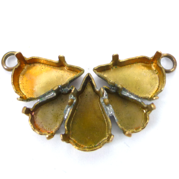 Pear shape Flower pendant base with 2 loops