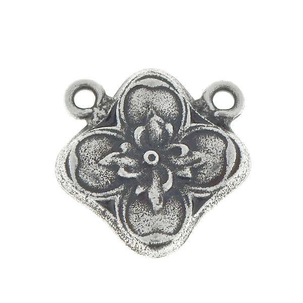 Floral square metal pendant with two top loops