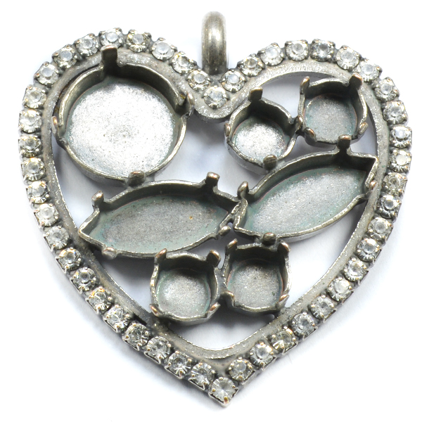 Hollow heart pendant base with small crystals around